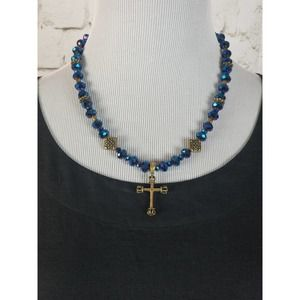 Iridescent Blue Beaded Necklace with Brass Cross